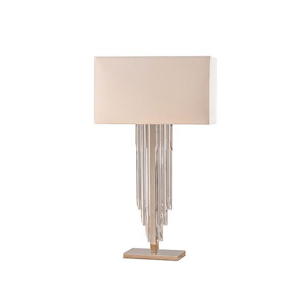 Crystal Cascade Table Lamps Modern Decor Cream Shade 40 W Bulbs