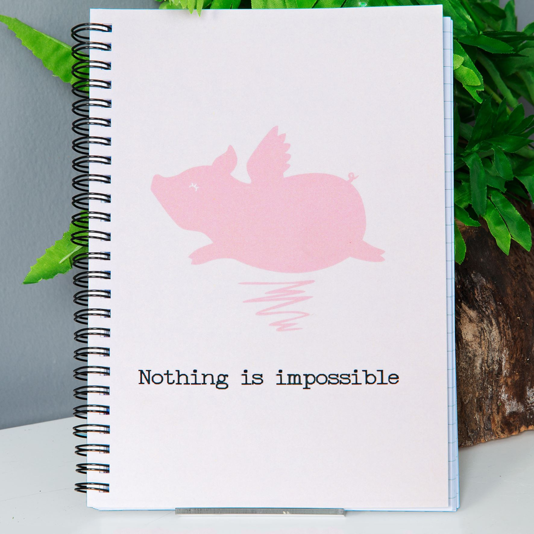 Animal Friends Flying Pig Notebook - A5
