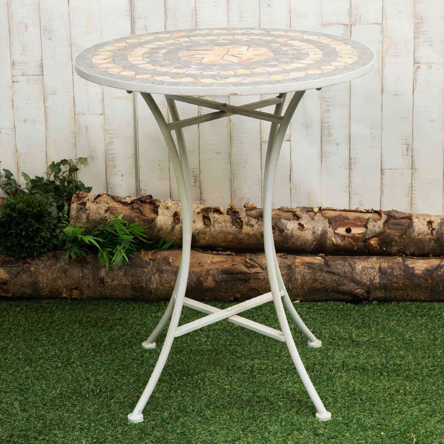 Country Living Cream Mosaic Metal Table - 71x60cm