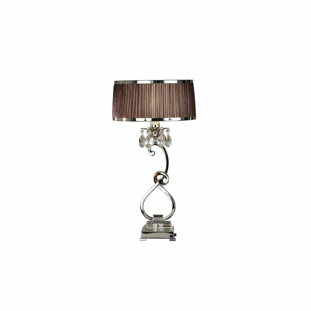 Oksana Nickel Medium Table Lamp And Chocolate Shade & Silver Trim 40W