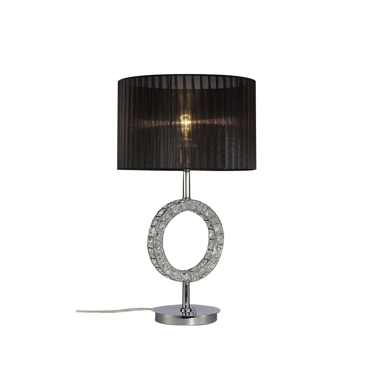 Diyas Florence Round Table Lamp With Black Shade 1 Light Polished Chrome/Crystal