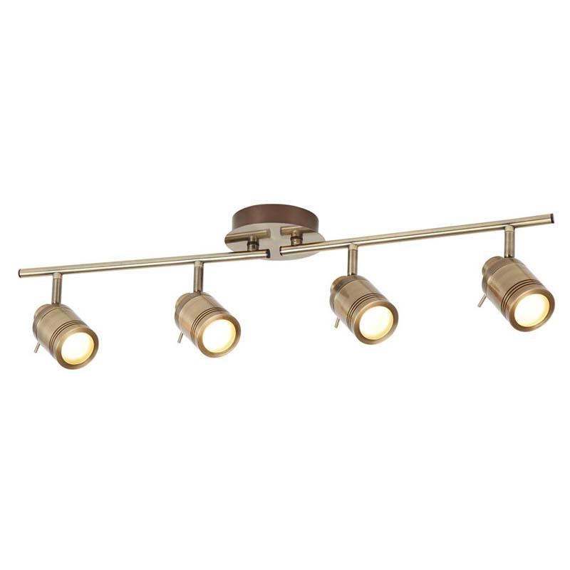Samson 4 Light Ip44 Bathroom Spot Split-Bar, Antique Brass