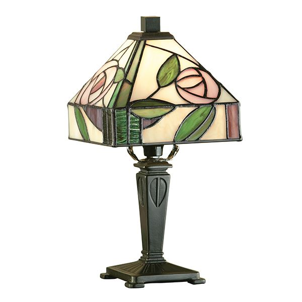 Willow Mini Tiffany Style Floral Table Lamp 40W - Interiors
