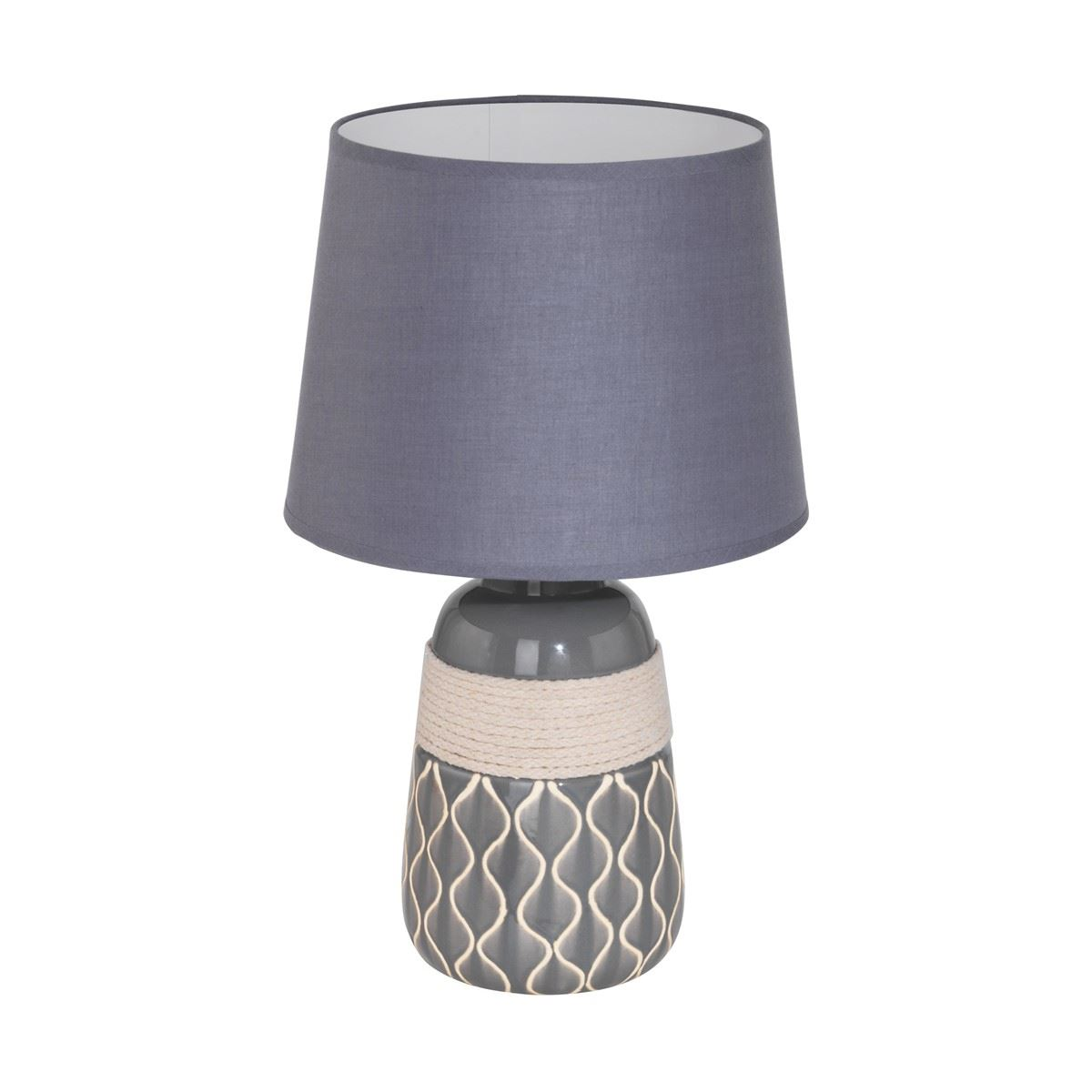 Bellariva Beige Ceramic Modern Table Lamp With Grey Shade