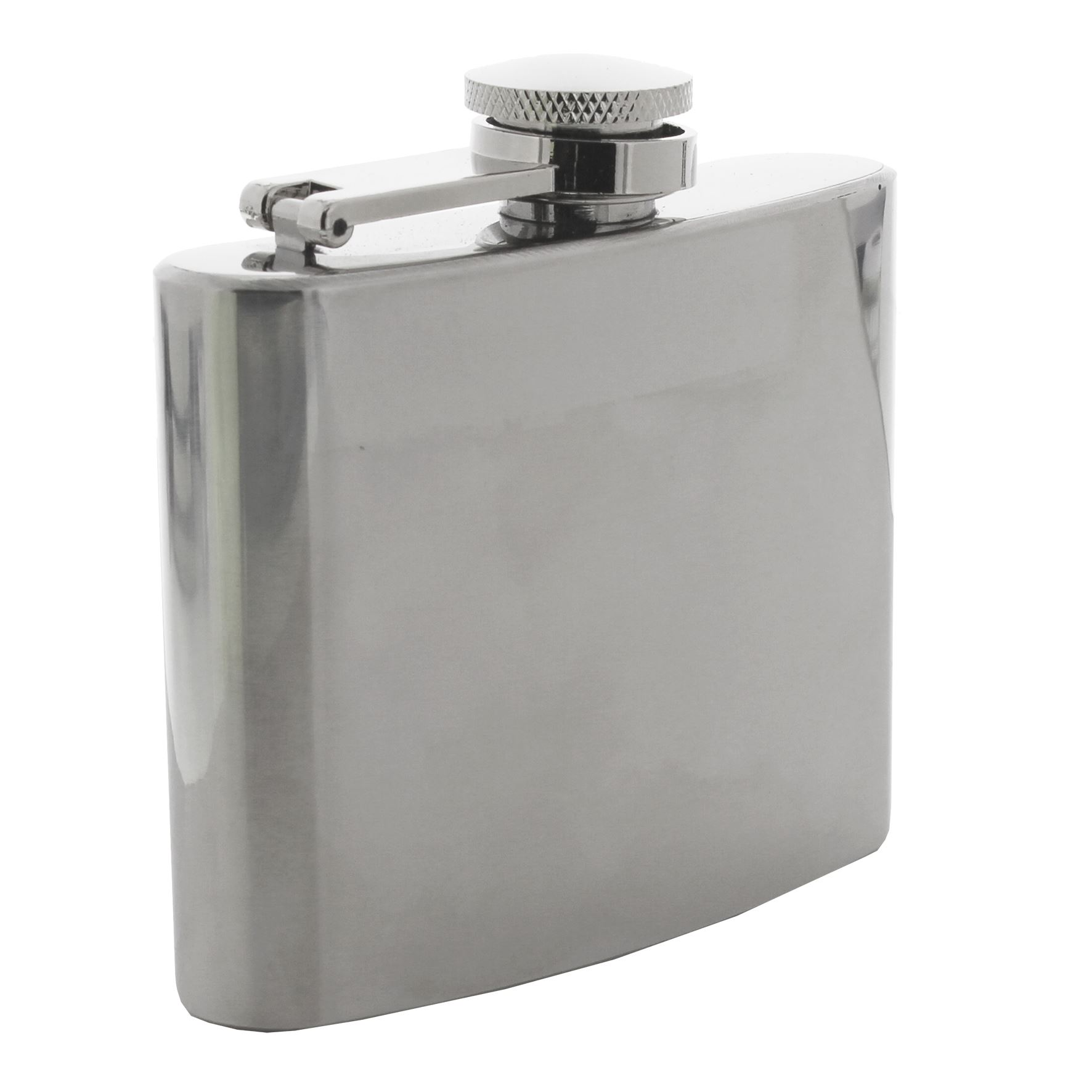 Harvey Makin 4Oz Hipflask & Funnel Plain Shiny Silver