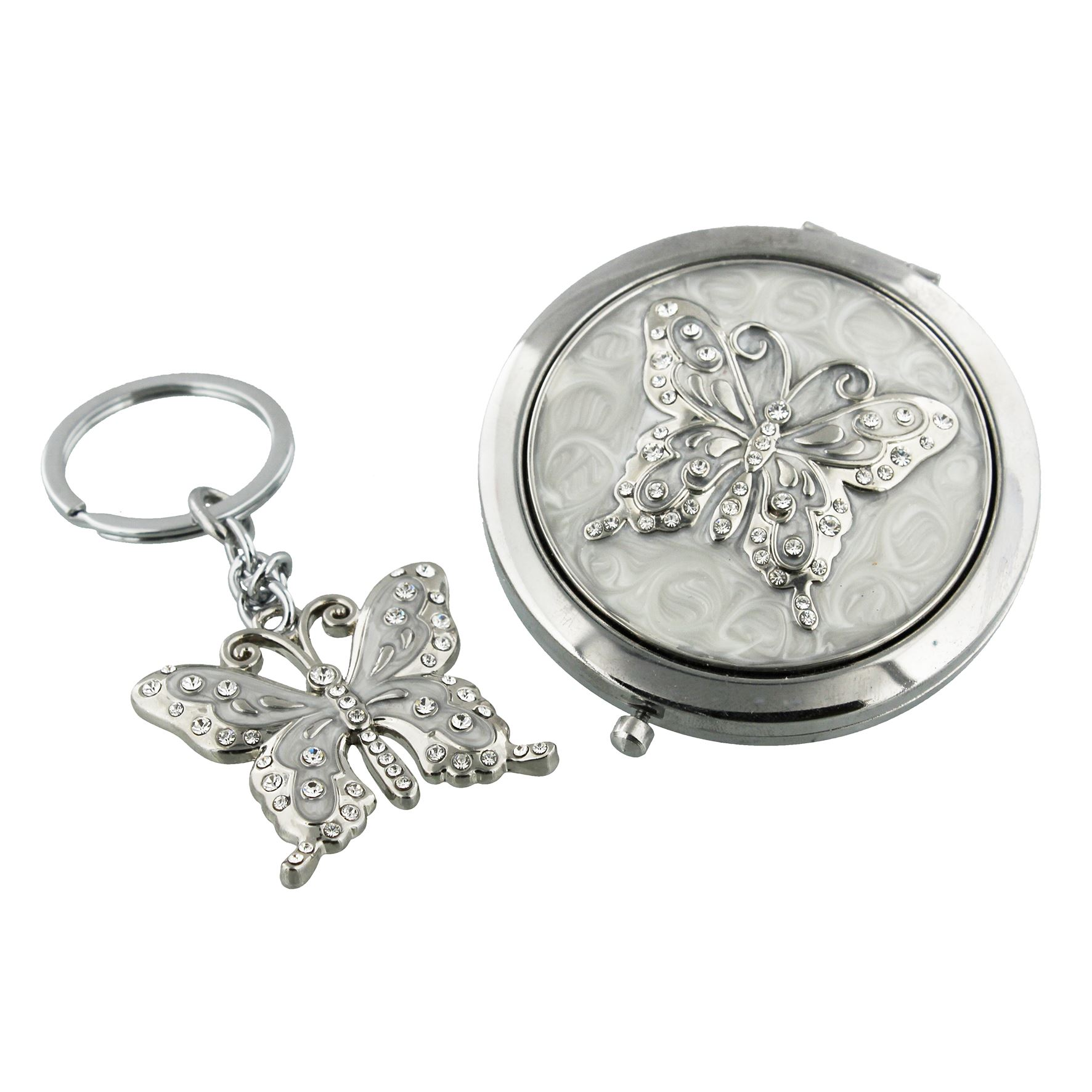 Sophia Silverplated Compact Mirror & Keyring Set Butterfly