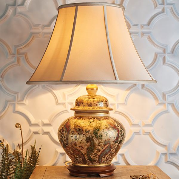 Lovely Kashmir Style Uk Porcelain Table Lamp With Shade