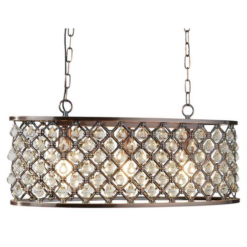 Antique Style Marquise 3 Light Oval Copper LED Pendant Lights Made of Steel Ideal For Dining Room