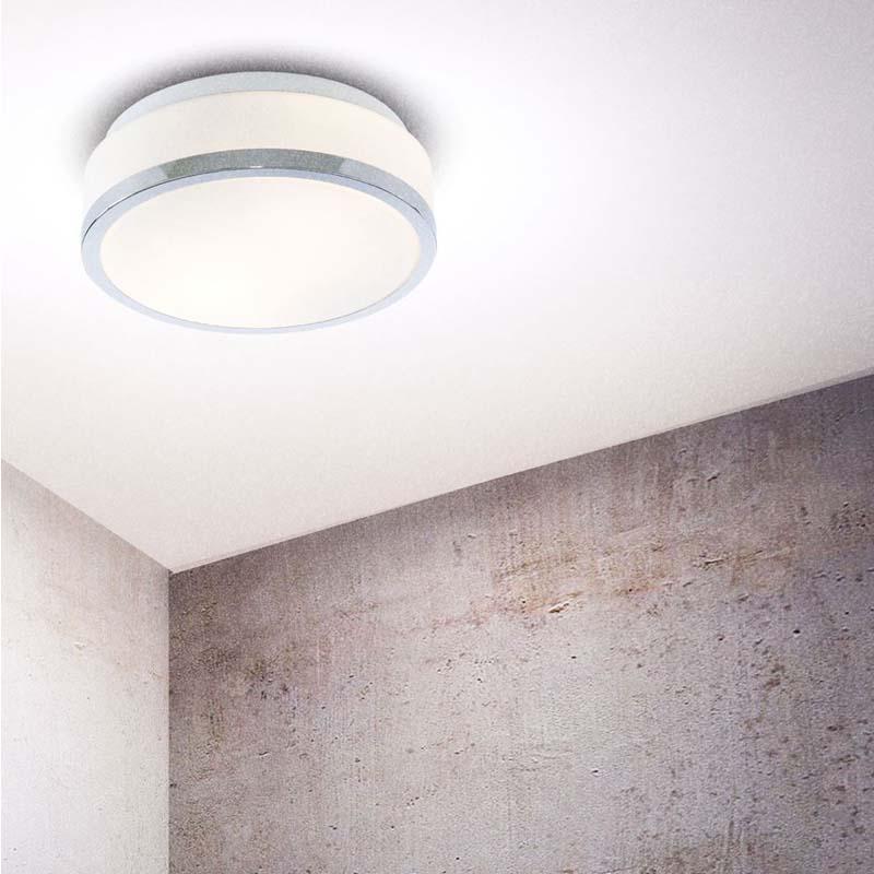 2 LIGHT FLUSH CEILING BATHROOM LIGHT- IP44 FLUSH, OPAL WHITE GLASS SHADE