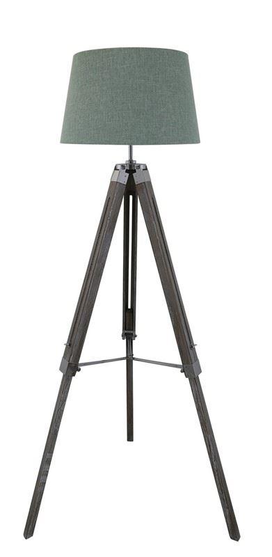 Grey Wood Hollywood Tripod Tripod Tall Floor Lamps with Duck Egg Linen Shade Lounge Lighting Livingroom
