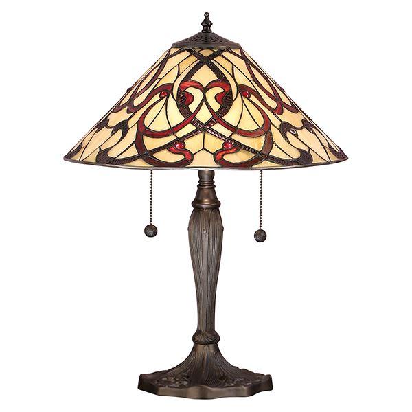 Interiors Tiffany Glass Ruban Aluminium Table Lamp