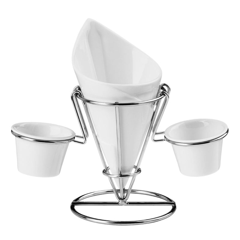 Hollywood French Fry Cone,2 Dip Dishes,White Porcelain/Chrome Finish Stand