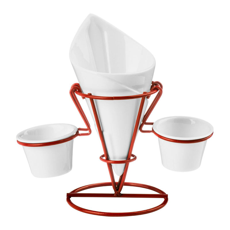 New French Fry Cone,2 Dip Dishes,White Porcelain/Red Metal Stand