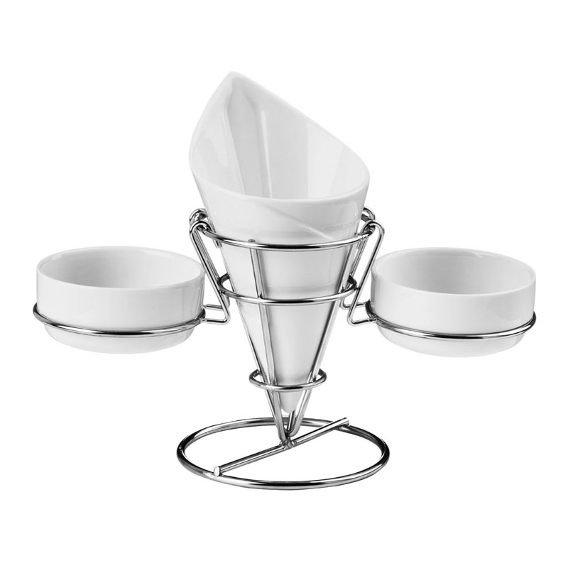French Fry Cone,2 Dip Dishes,White Porcelain/Chrome Finish Stand
