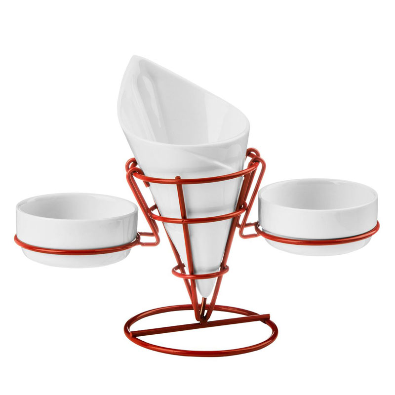 French Fry Cone,2 Dip Dishes,White Porcelain/Red Metal Stand