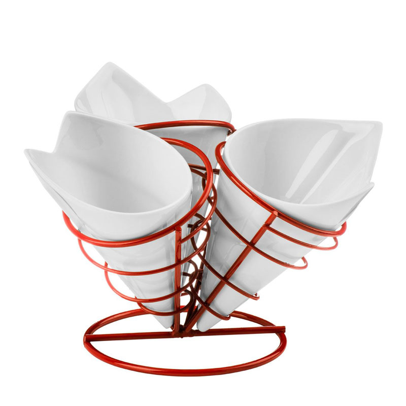 French Fry Cone Set,3 White Porcelain Cones,Red Metal Stand