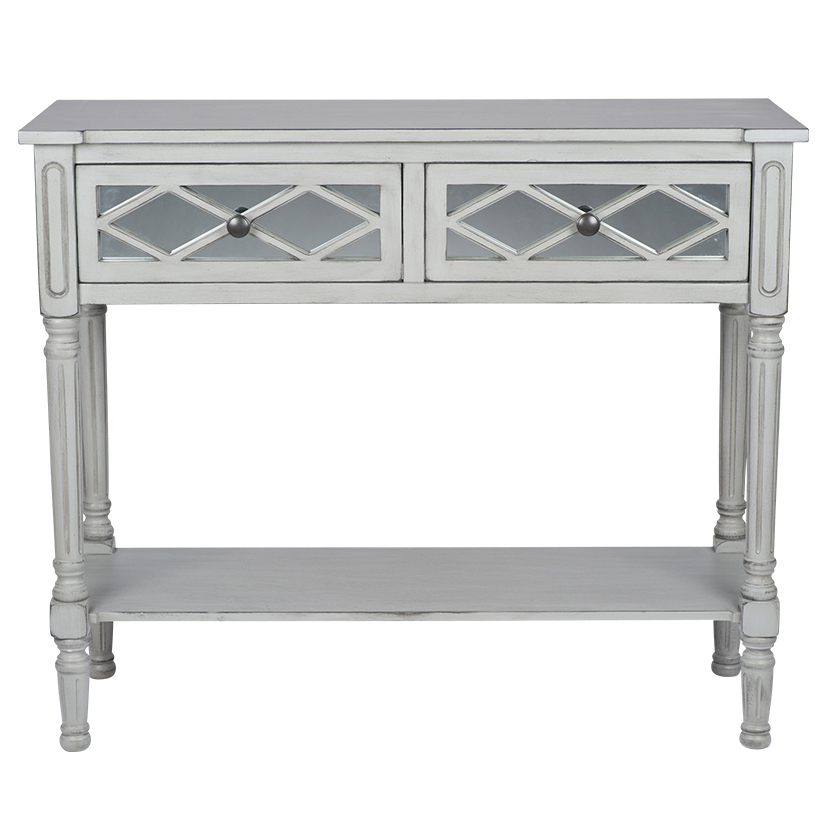 Dove Grey Mirrored Pine Wood Console Table K/D