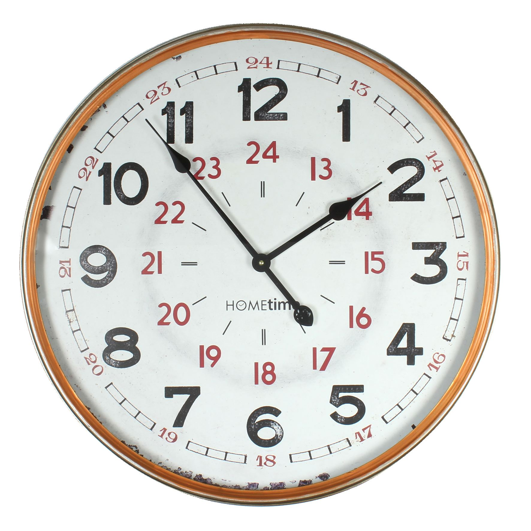 MPH Metal Case 24 Hour Bronze Finished Wall Clock