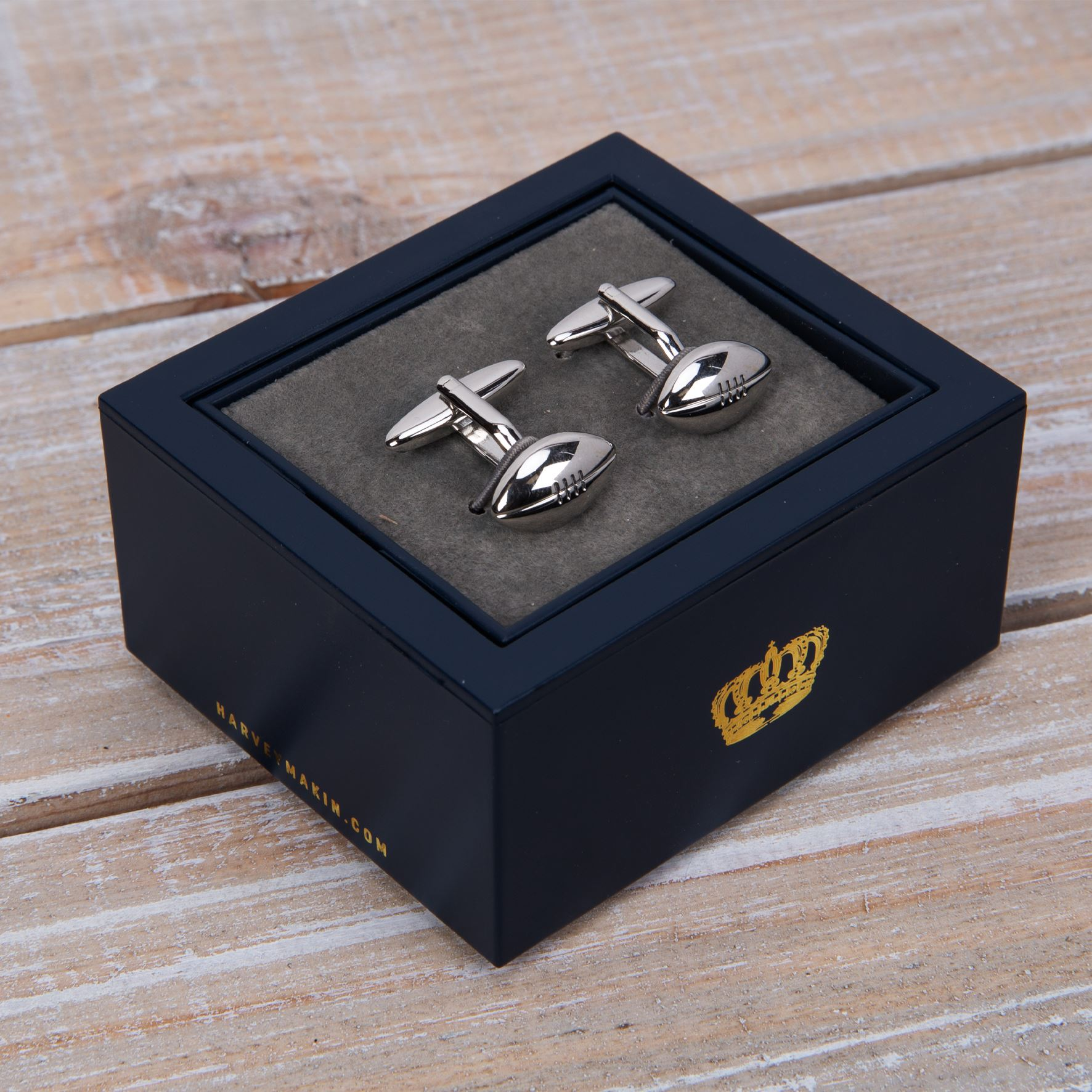 Pair of Rugby Ball Cufflinks Gift Boxed