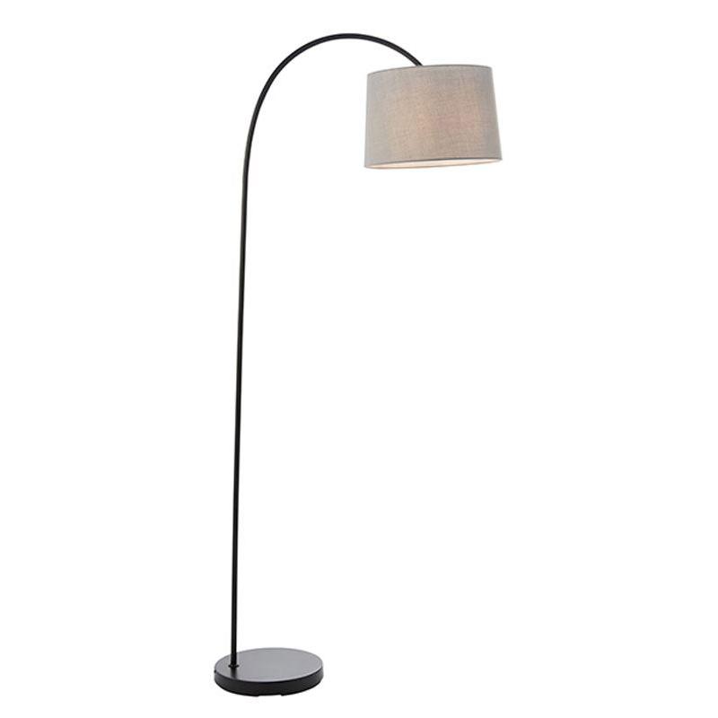 Carlson Modern Floor Lamp 1 Light Matt Black With Light Grey Cotton Mix Shade