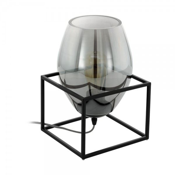 EGLO Tl/1 E27 Schwarz/Rauchglas Vintage One Light Black Table Lamp
