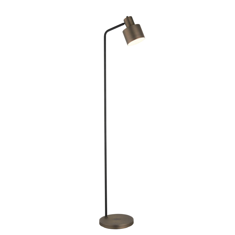 Mayfield 1 Light Antique Design Bronze Floor Lamp & Textured Matt Black Paint