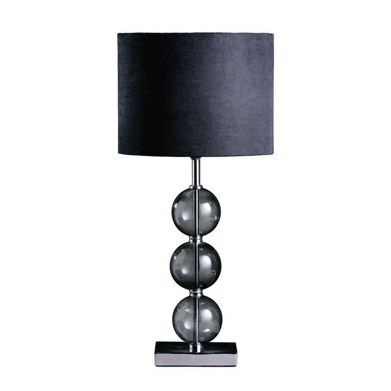 Mistro Table Lamp Black Suede Effect Shade Feature Chrome Base