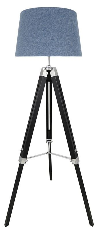 """Hollywood Black Tripod Wooden Floor Lamp With 13"""" Blue Linen Shade"""