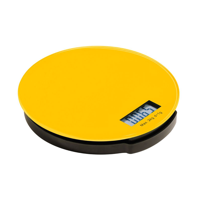 Zing Kitchen Scale,Yellow Glass/Abs Base,Electronic 2Kg