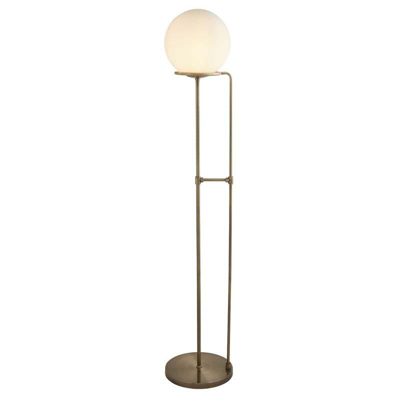 Searchlight SPHERE 1 LIGHT FLOOR LAMP, ANTIQUE BRASS, OPAL WHITE GLASS SHADE