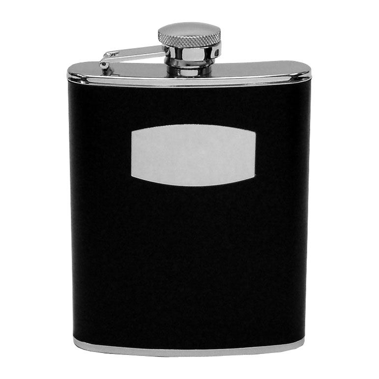 6Oz S/S Hipflask - Hinged Top - Black Leather Finish