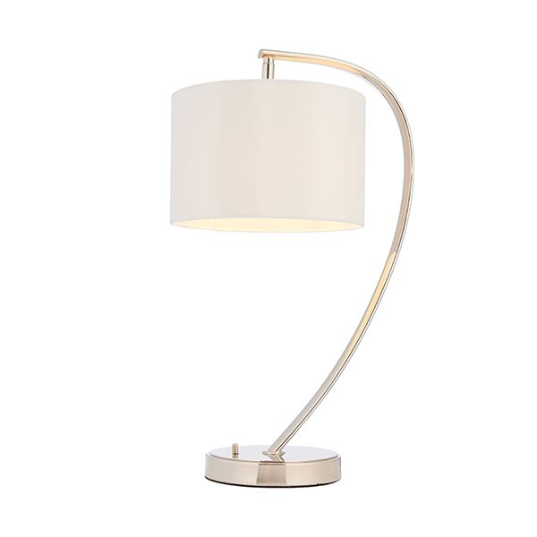 Josephine Bright Nickel Table Lamp With Vintage White Faux Silk Shade