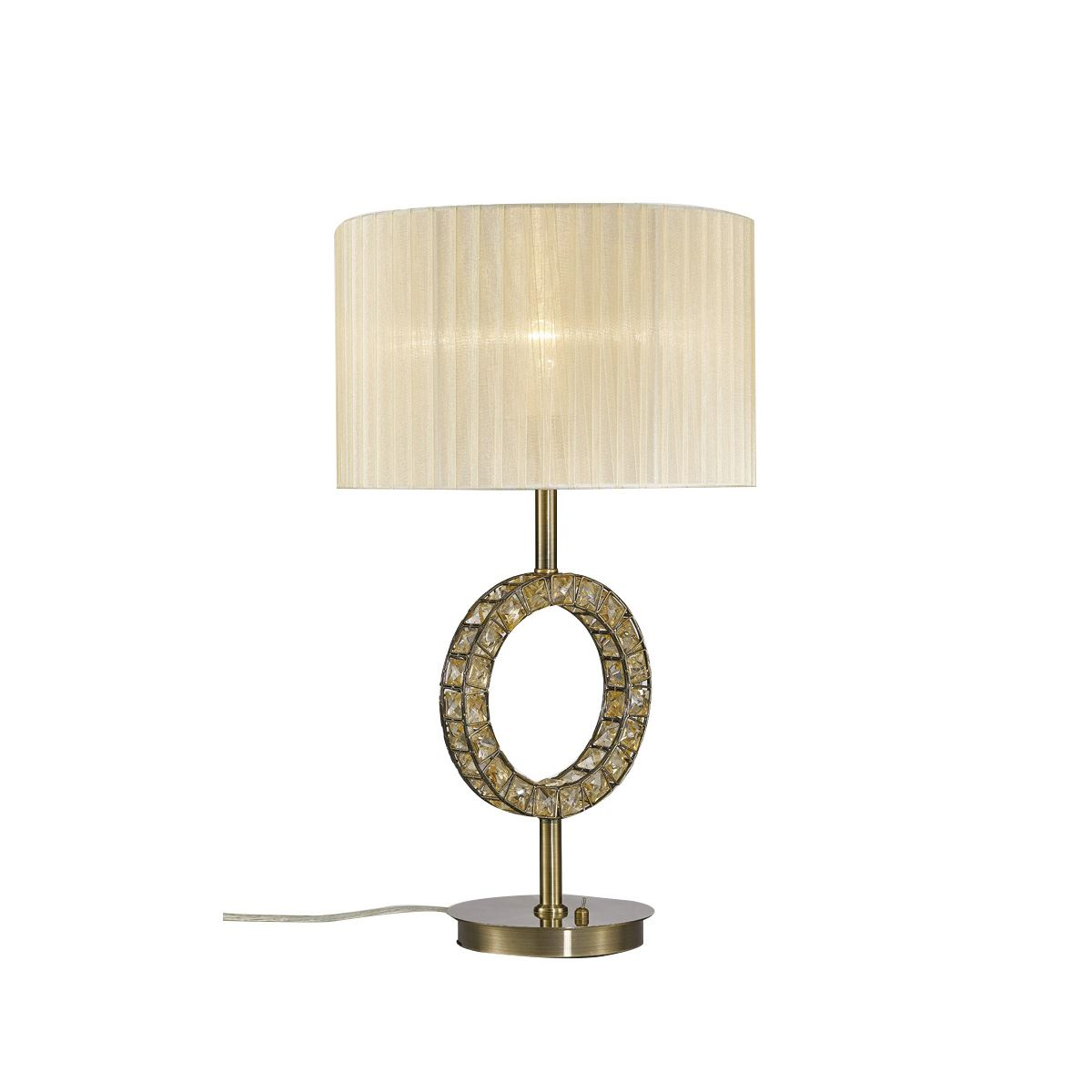 Diyas Florence Round Table Lamp With Cream Shade 1 Light Antique Brass/Crystal