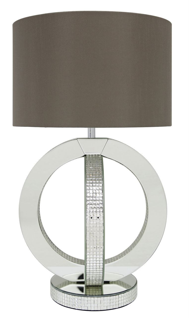 "Glitz Double Ring Modern Table Lamps With 16"" Clear Glass Taupe Faux Silk Cylinder Shade"