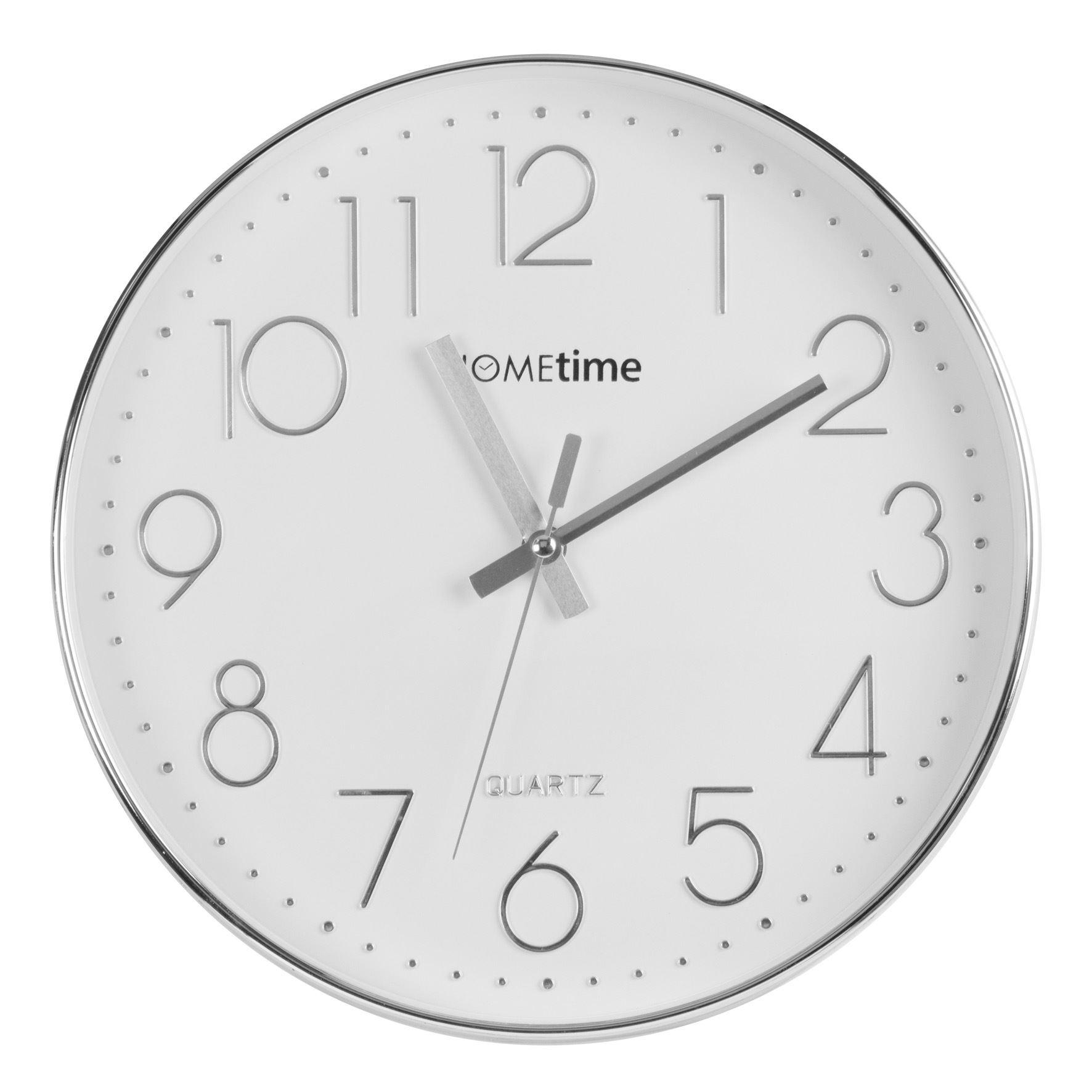 Hometime Round Plastic Living Room Wall Clock Chrome Finish  (30cm)