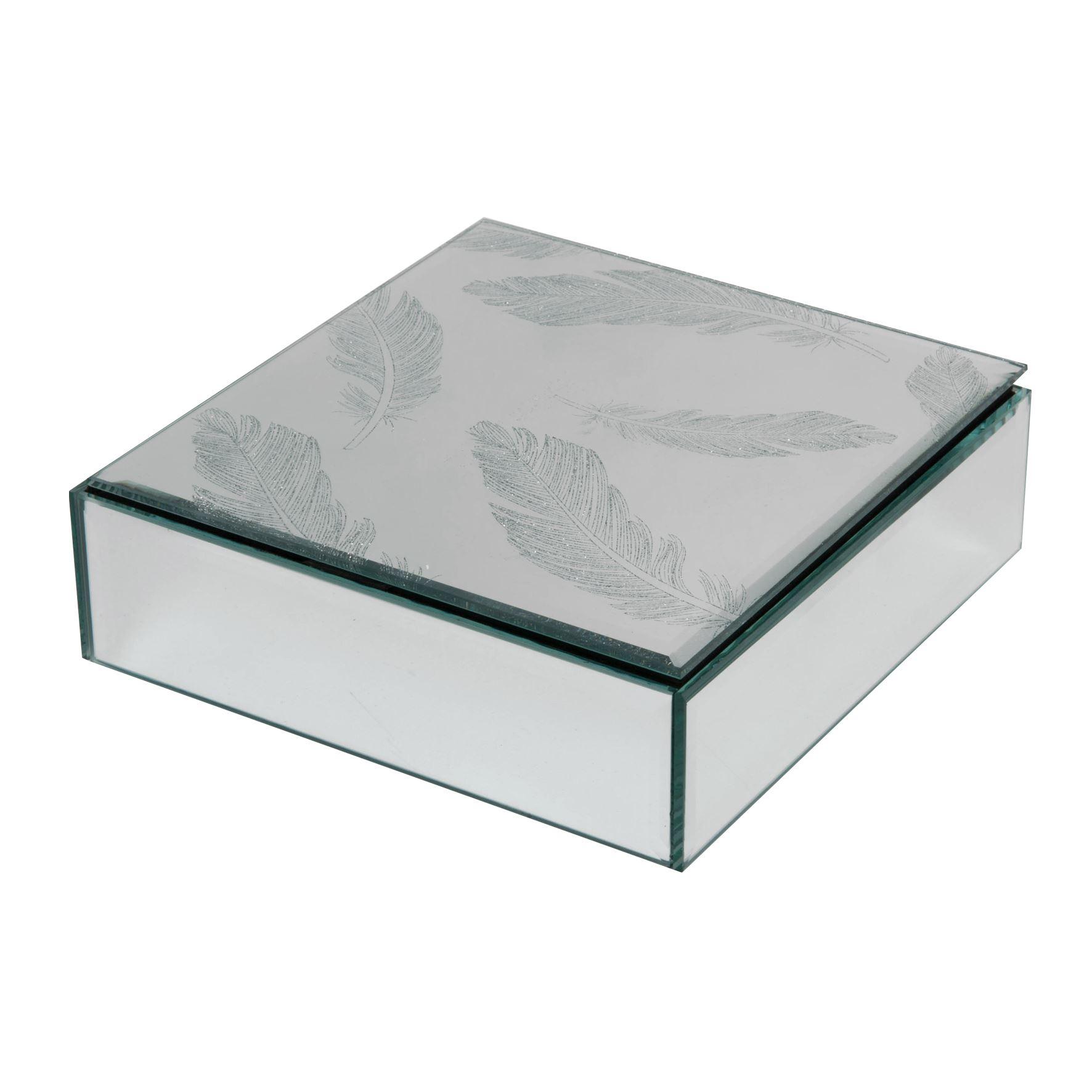 Hestia Silver Glitter Feather Glass Trinket Box
