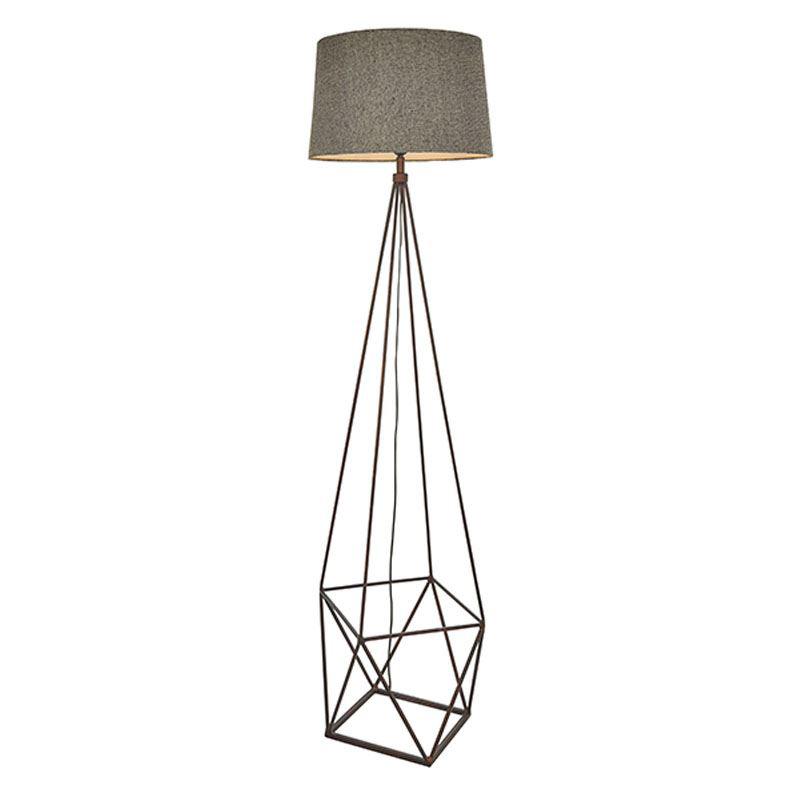 Apollo Stylish Floor Lamp 1 Light Aged Copper Finish & Grey Fabric Shade