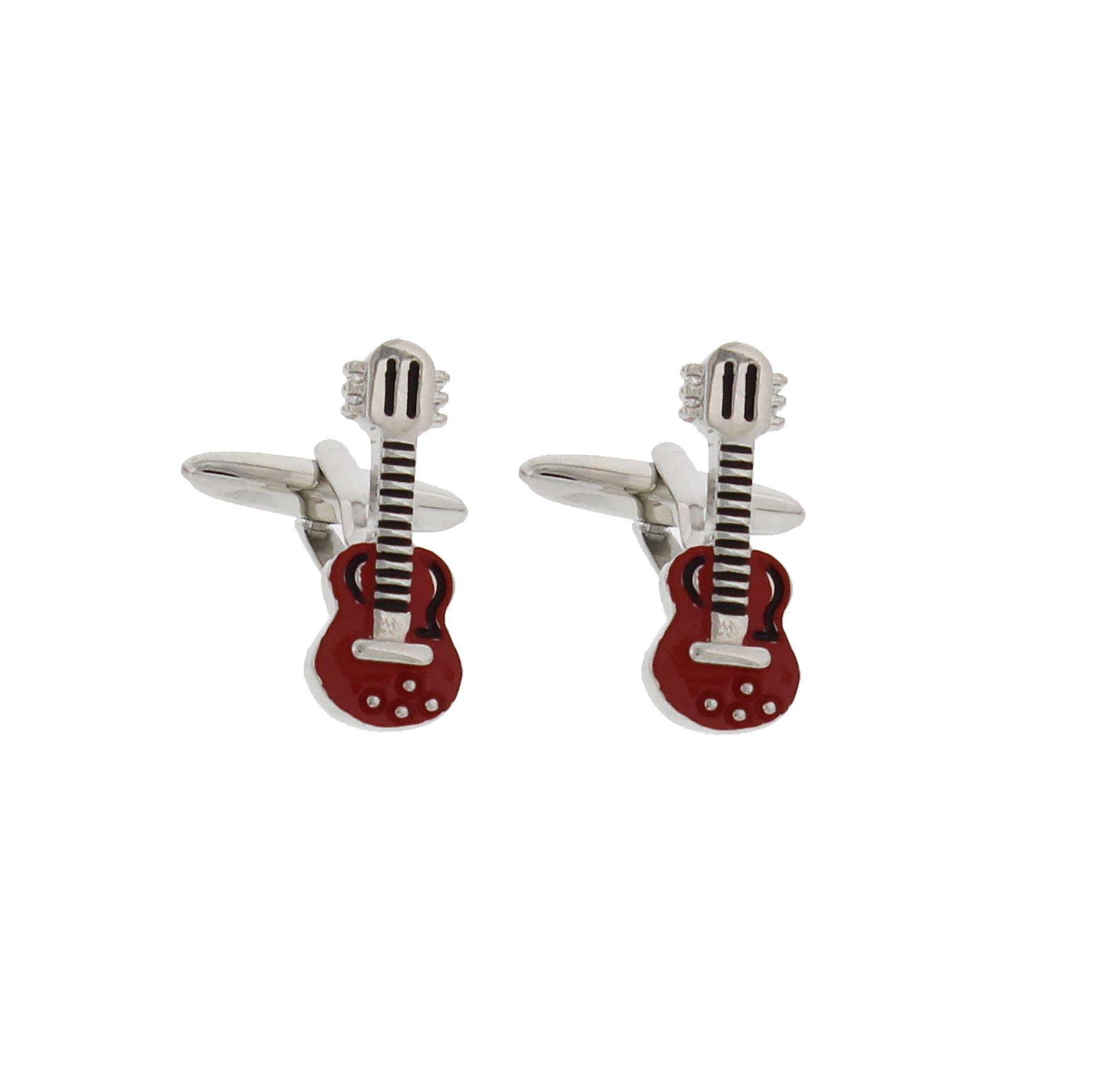 Musicology Rodium Plated & Red Expoxy Cufflinks Guitar