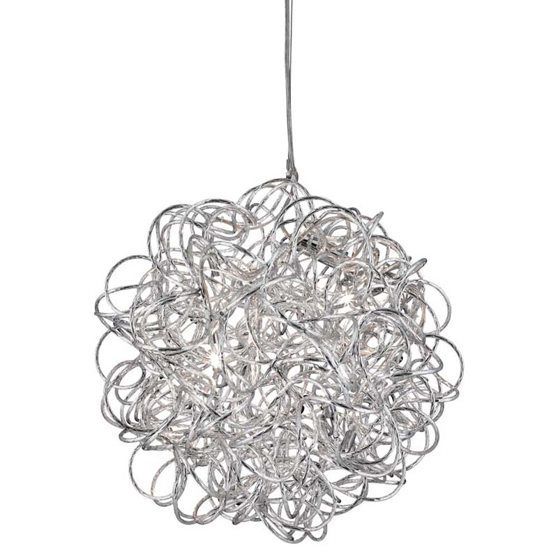 Scribble - 6 Light Pendant Diamond Cut Tangled Aluminum