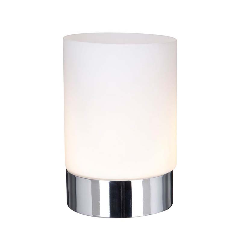 Touch 1 Light Table Lamp & Chrome Base - Opal White Glass Shade