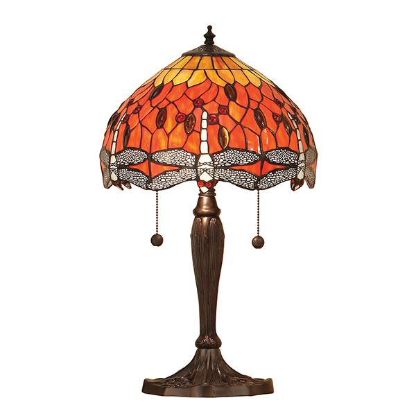 Dragonfly Tiffany Style Flame Small Aluminium Table Lamp 60W