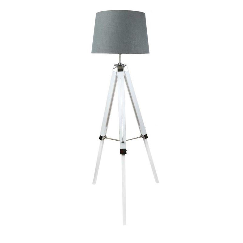 White Wood Hollywood Tripod Floor Lamp With 17 inch Grey Linen Drum Shade