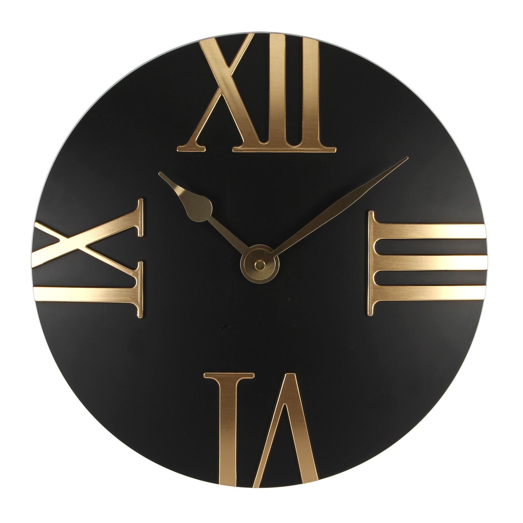 Hometime Wall Clock - Domed Roman Quarter Dial - Black