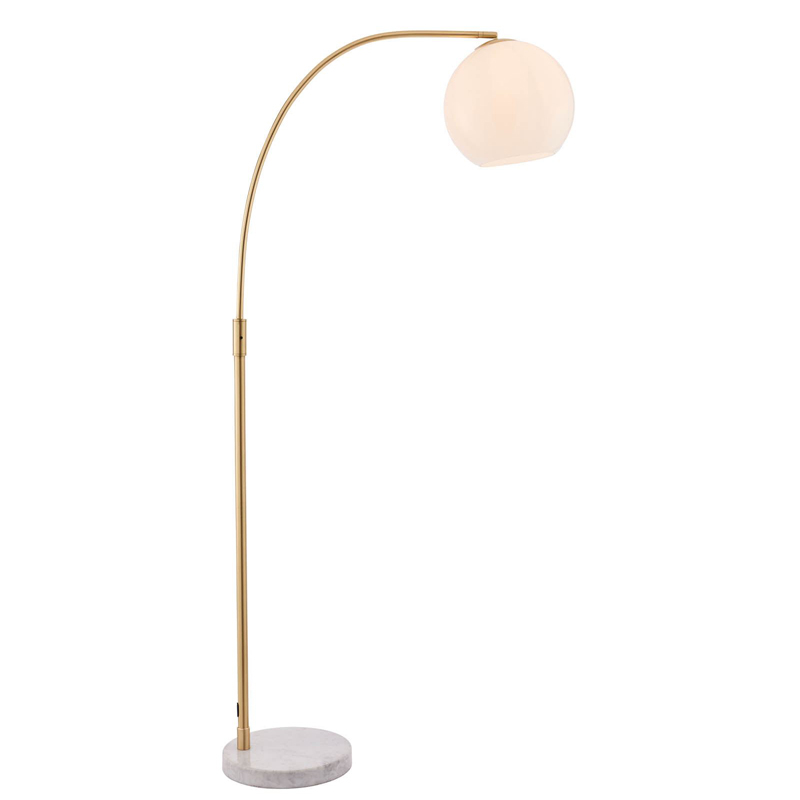 Otto 1 Light Floor Satin brushed gold effect plate and gloss opal glass