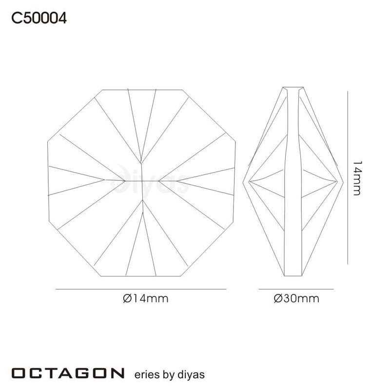 Crystal Octagon Without Ring Smoked 14Mm