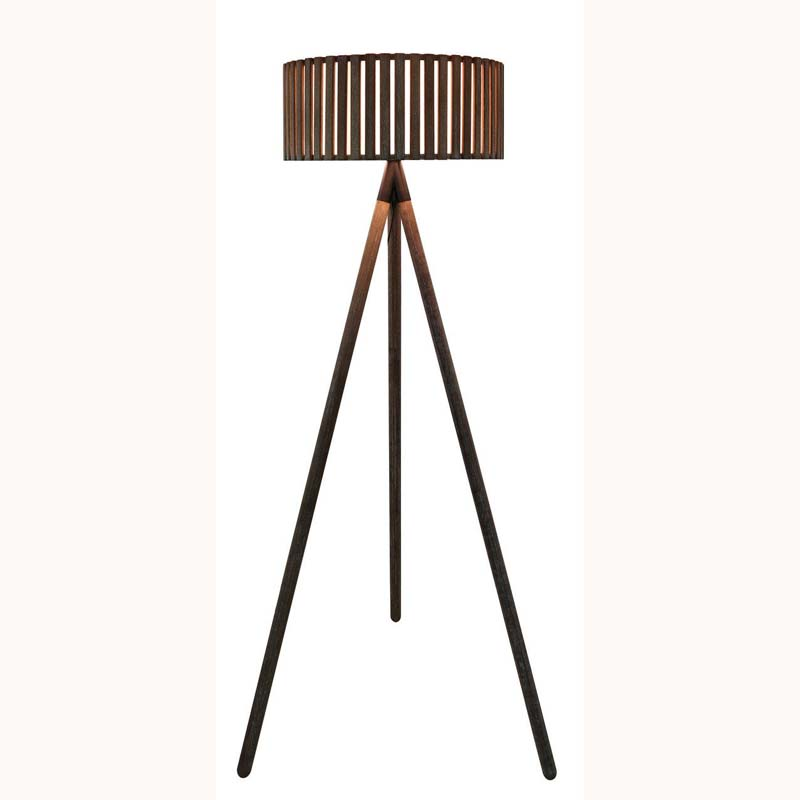 Grey Tripod Hollywood Floor Lamp with Round Grey Wooden Paneled Shade