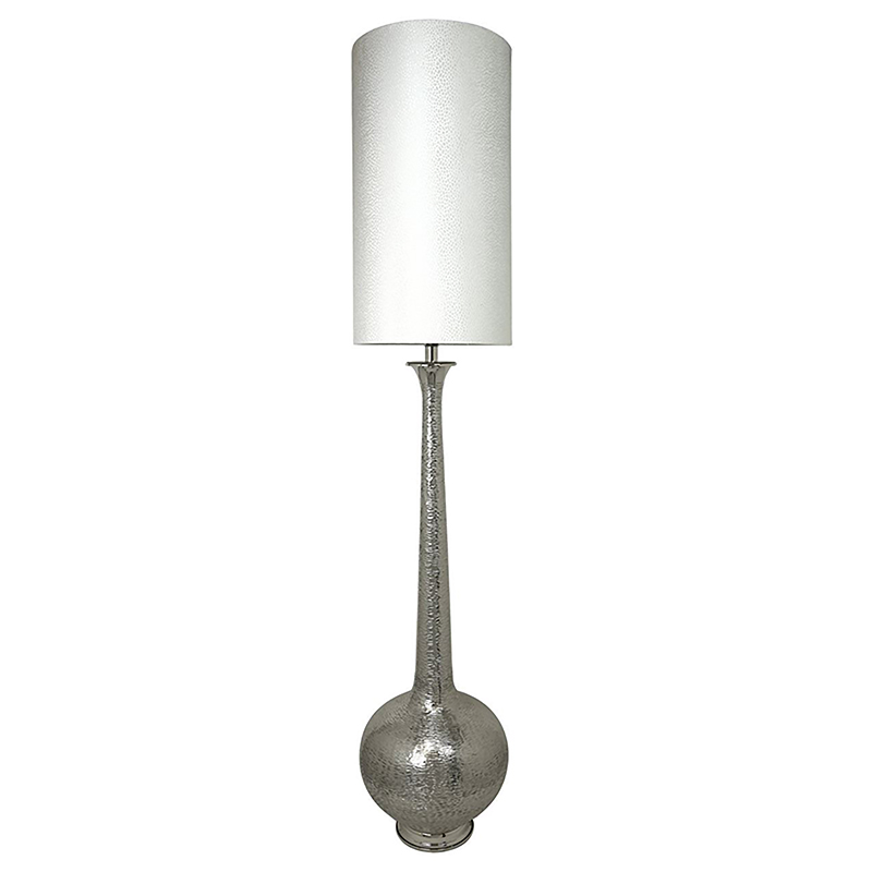 Nickel Elongated Gourd Floor Lamp with a 13 inch White crocodile