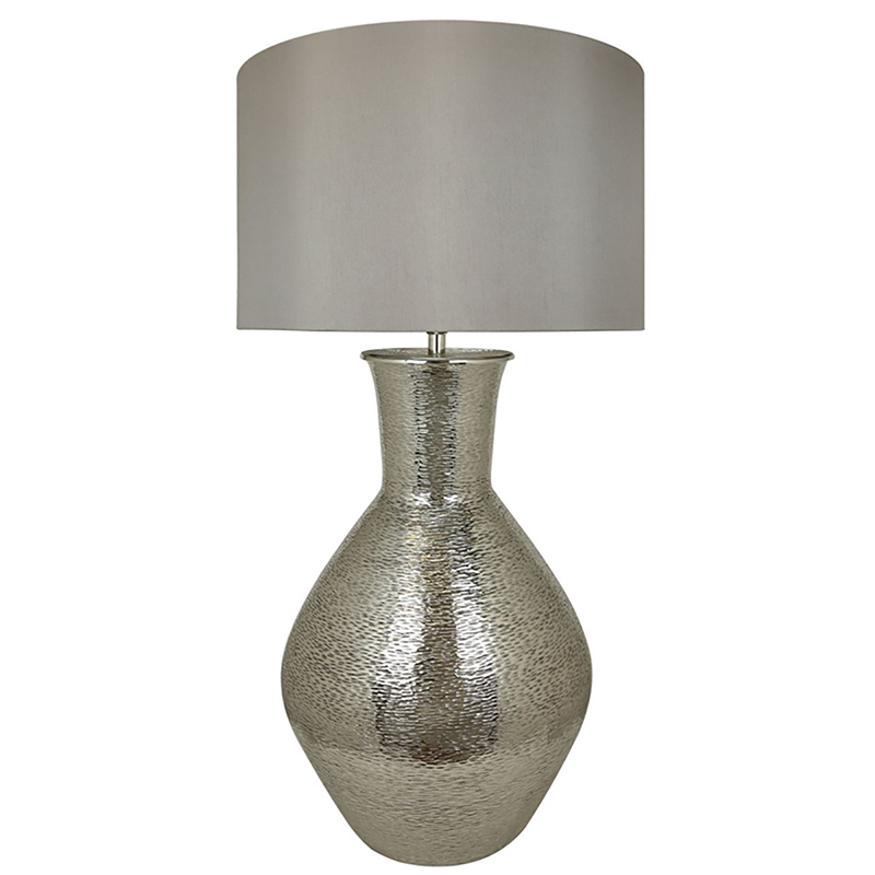 Nickel Olpe Floor Lamp with a 24 inch Taupe faux silk Drum Shade