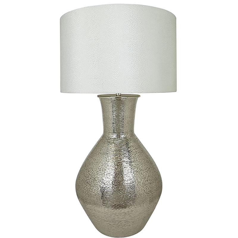 Nickel Olpe Floor Lamp with a 24 inch White Crocodile Velvet Drum Shade