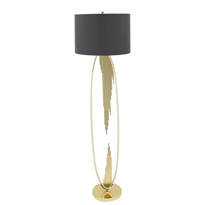 Gold Oval Abstract Floor Lamp with 18 inch Grey Faux Silk Cylinder shade